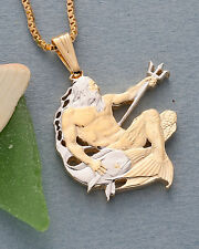 "Neptune Pendant & Necklace, Barbados Neptune Coin Hand Cut, 1 1/4"",( # 22 )"