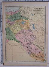 1891 antique map ~ LA TURQUIE EN ASIE Arménie Kurdistan ASSYRIA Mésopotamie Syrie