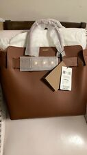 NWT Authentic BURBERRY Women's Tan Camel Medium Leather BELT Tote Bag $2490