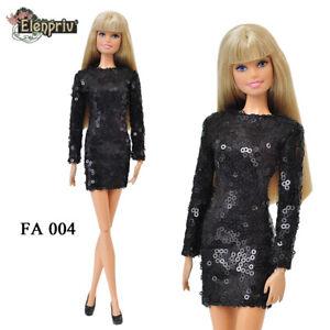 """ELENPRIV FA004 black sequined mini dress for Barbie Pivotal MTM 12"""" dolls"""