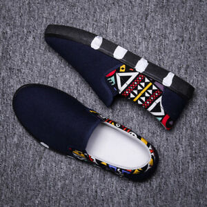 Men's Flat Shoes A Pedal Floral Loafers Casual Canvas Fashionable Comfort Chic