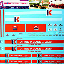 ARNE KLOSE Danmark Scania 141 + 142 for 4 Trucks 1:43 Truck Decal LKW Abziehbild
