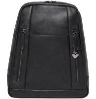 handgefertigter Leder Rucksack HAMBURG Schwarz 6 Reißverschlüsse Tasche