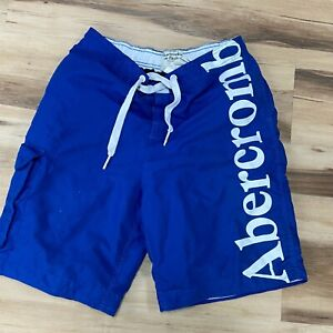 Abercrombie Fitch Mens Mediuml Cargo Spellout Lined Swim Trunks