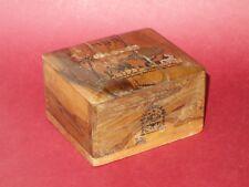 Rare Antique vtg Bezalel hand painted olive wood money bank box Israel signed