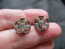 ANTIQUE VINTAGE EARLY EDWARDIAN PASTE GILT BRASS SEWING BUTTONS PAIR VICTORIAN