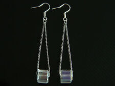 Costume Jewellery White Crystal Cube on the Chain Drop Dangling Earrings E106W