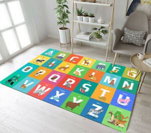 Animals Alphabet Letter from A to Z Area Rugs Kids Bedroom Living Room Floor Mat