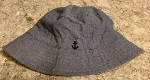 Carter's Baby Reversible Blue Tan Bucket Hat Size 12-24M - Excellent Condition
