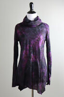 SNOSKINS Sno Skins $99 Crinkle Stretch Leopard Cowl Turtleneck Top Size Small