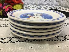 "Set of 5 Disney China ""Mickey Mouse Snowman"" Blue & White Checkerboard Plates 9"""