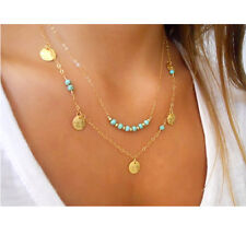 blue turquoise long multi strand chain multilayer gold layered necklace pendant