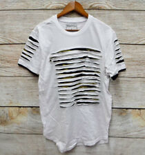 Switch T-Shirt Mens Size 2XL White & Camo Shredded Zipper Front Skinny Fit New