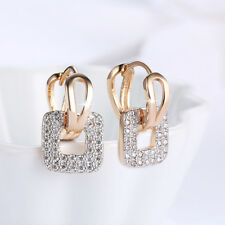 Wholesale 18K Yellow Gold Filled Clear Cubic Zirconia Square Hoop Earrings