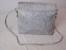 Mod Op Pop Art Retro Purse Handbag Charles Jourdan France Stamped Leather Grey