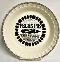 "Vintage 1983 Country Harvest ""Pecan Pie"" Royal China 10 3/4"" Pie Plate & Recipe"