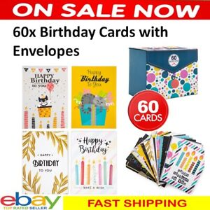 60 x Multipack Premium Birthday Cards Mixed Pack with 60 WITH ENVELOPES