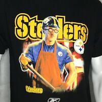 Vintage Pittsburgh Steelers T-Shirt Sz M Reebok Iron Worker NFL Football Black