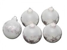 Krebs & Sohn 6390/5 Christbaumkugeln Glas Frost Ice Silber Sterne, Ø5cm, 5 Stück