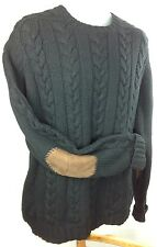 Polo Ralph Lauren Mens L Wool Linen Blend Fisherman Sweater Suede Elbow Patches
