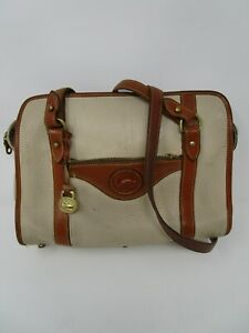 Dooney & Bourke Cream Brown Leather Adjustable USA Made Shoulder Cross Body Bag