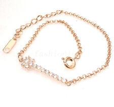 Women Girl Rose Gold Plated CZ CubicZirconia Crystal Adjustable Bracelet 8+4cm