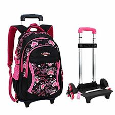 Backpack With Wheels Girls Rolling School Travel Bag Kids Back Pack Roller Black