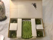 VINTAGE GREEN ANCHOR HOCKING FAIRFIELD - 8 PIECE SNACK SET IN ORIGINAL BOX