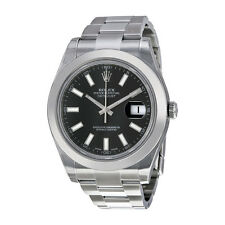 Rolex Datejust II Black Dial Stainless Steel Automatic Mens Watch 116300BKSO