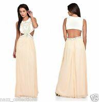 NUDE PEARL CRYSTAL DIAMANTE CUT OUT WAIST GRECIAN MAXI GOWN DRESS 8-16