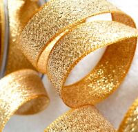 Metallic Glitter Ribbon Berisfords Dark Gold Sparkly Lame 3, 7, 15, 25, 40mm