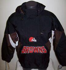 CLEVELAND BROWNS NFL Starter Hooded Half Zip Pullover Jacket S M L XL 2X BLACK