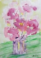 """Original watercolor red flowers impressionist 7 1/2"""" by 10 1/2"""""""