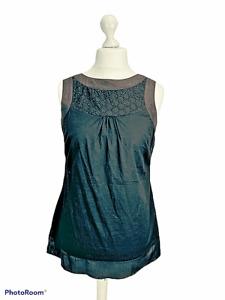 Monsoon Black Cotton Sleeveless Tunic Top Broiderie Size 14 Summer Boho Casual