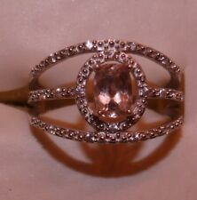 BRIGHT .90 CTW  RG COR-DE-ROSA MORGANITE & ZIRCON  FANCY DESIGNER RING SIZE 10
