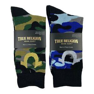 True Religion Dress Socks 2 Pair Camo Green & Blue Camouflage Socks