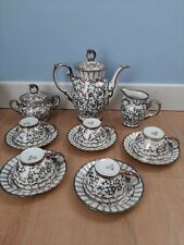 Servizio vintage tazzine caffè  porcellana Bavaria  decoro argento