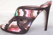 MISSONI Zig Zag Print Brown Leather Slides Sandals Shoes 35  5