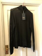 New Zara Knit Wear Collection Black Raised Neck Jumper Top With Split Cuffs,M
