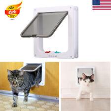 Interior 4-Way Locking Cat Flap Door Magnetic Lockable Home Pet Safe Entry Gate