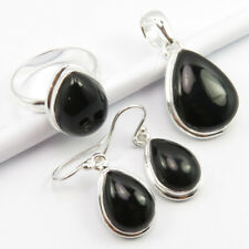Pendant Earrings Ring Size 8.5 Set 925 Solid Sterling Silver Genuine Black Onyx