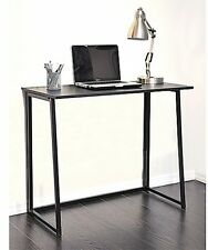 Wooden Writing Desk in Black Versatile Desk Folds Up Easy for Convenient Storage
