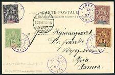 Frz. Ozeanien Oceania 1907 Postkarte AK Stempel Papeete nach Apia Deutsch-Samoa