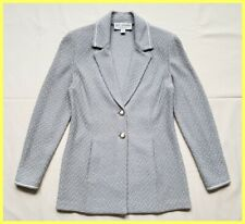 ST. JOHN COLLECTION BLUE WHITE WOOL BLEND KNIT TWEED BUTTON JACKET BLAZER 0 XS P