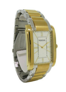 Fossil PR5413 Men's Analog Rectangular Roman Numeral Stainless Steel Watch