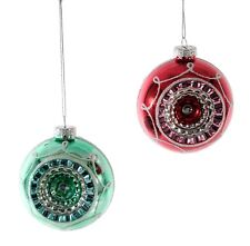 Katherine's Retro Inspired Reflector Christmas Holiday Ornaments Set of 2 Glass