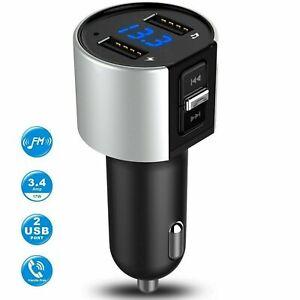 Bluetooth 4.2 Wireless Handsfree Car FM-Transmitter MP3 Player 2 USB Charger Kit