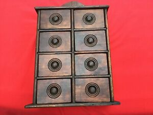 Vintage SPICE CABINET SHELF RACK Old WOOD BOX CHEST 8 Drawers AS IS Estate find