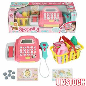Supermarket Till Kids Cash Register Toy Gift Set Child Girl Shop Role Play Pink