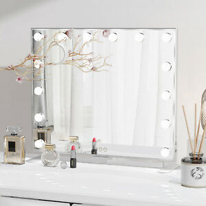 Hollywood Makeup Mirror Vanity With LED Light Up Dimmable Lights Bedroom Table